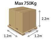 Full Pallet Size (lite) - 750 Kg (1.2m x1.2m x 2.2m) at Pallet2Ship
